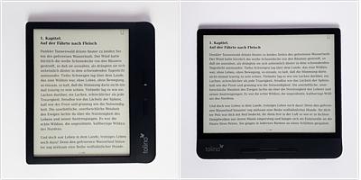 Lesen mit dem Tolino Vision 5 im Hochformat (Links) und im Querformat (Rechts).